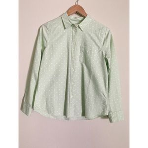 Madewell Polka Dot Boyshirt in Mint Green
